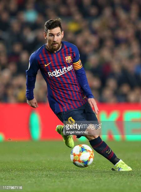 Lionel Messi of FC Barcelona in action during the Copa del Rey Semi Final match between FC Barcelona and Real Madrid at Nou Camp on February 06 2019...