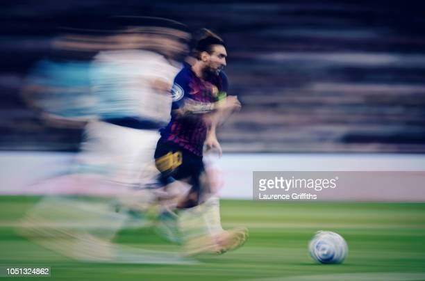 Lionel Messi of FC Barcelona in action during the Group B match of the UEFA Champions League between Tottenham Hotspur and FC Barcelona at Wembley...