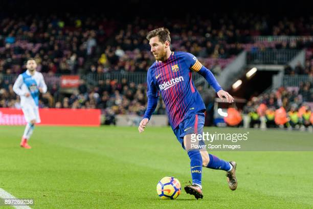 Lionel Messi of FC Barcelona in action during the La Liga 201718 match between FC Barcelona and Deportivo La Coruna at Camp Nou Stadium on 17...