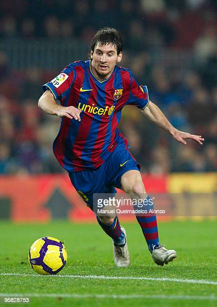 Lionel Messi of FC Barcelona in action during the La Liga match between Barcelona and Sevilla at the Camp Nou stadium on January 16 2010 in Barcelona...