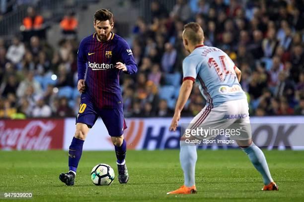 Lionel Messi of FC Barcelona in action during the La Liga match between Celta de Vigo and Barcelona at Balaidos Stadium on April 17 2018 in Vigo Spain