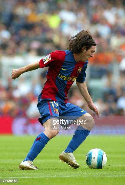Lionel Messi of FC Barcelona in action during the La Liga match between FC Barcelona and Real Betis at the Camp Nou on May 13 2007 in Barcelona Spain