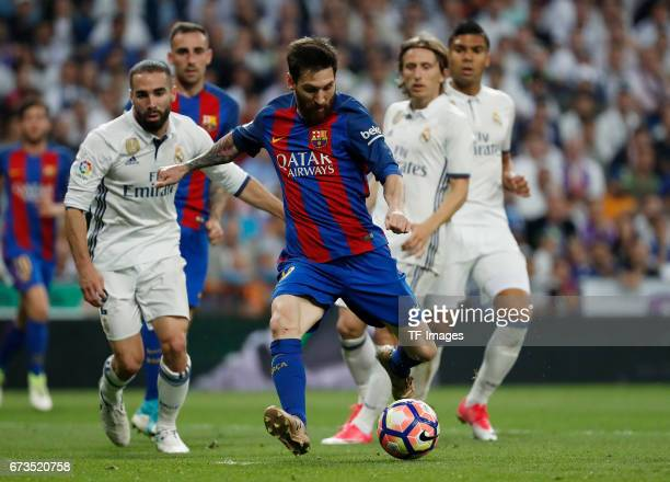 Lionel Messi of FC Barcelona in action during the La Liga match between Real Madrid CF and FC Barcelona at the Santiago Bernabeu stadium on April 23...