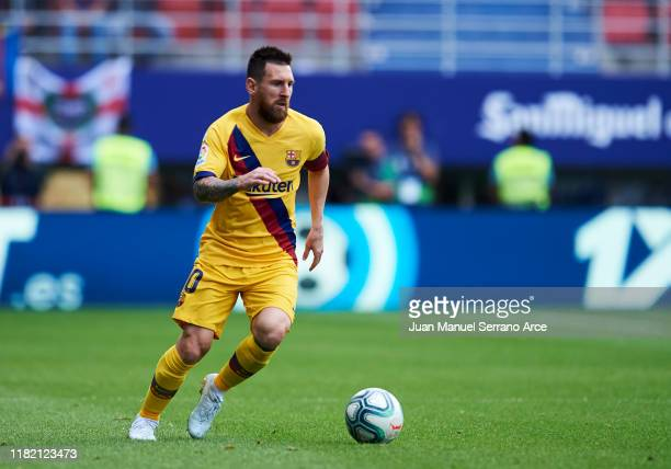 Lionel Messi of FC Barcelona in action during the Liga match between SD Eibar SAD and FC Barcelona at Ipurua Municipal Stadium on October 19 2019 in...