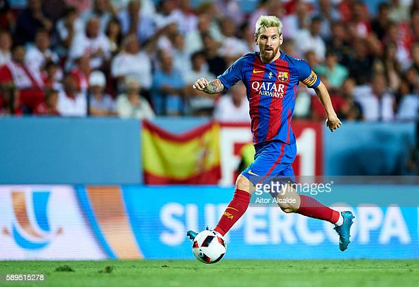 Lionel Messi of FC Barcelona in action during the match between Sevilla FC vs FC Barcelona as part of the Spanish Super Cup Final 1st Leg at Estadio...