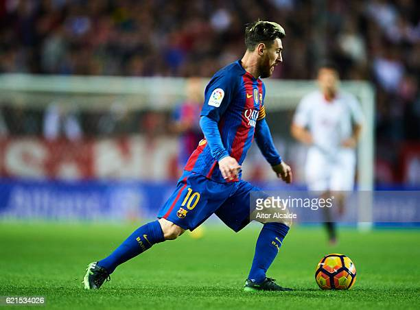 Lionel Messi of FC Barcelona in action during the match between Sevilla FC vs FC Barcelona as part of La Liga at Ramon Sanchez Pizjuan Stadium on...