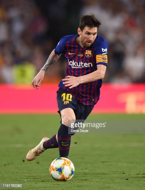 Lionel Messi of FC Barcelona in action during the Spanish Copa del Rey match between Barcelona and Valencia at Estadio Benito Villamarin on May 25...