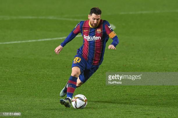 Lionel Messi of FC Barcelona in action during the Spanish Copa del Rey match between FC Barcelona and Sevilla FC at Camp Nou in Barcelona, Spain.