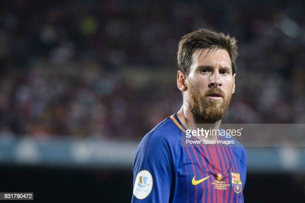 Lionel Messi of FC Barcelona in action during the Supercopa de Espana Final 1st Leg match between FC Barcelona and Real Madrid at Camp Nou on August...