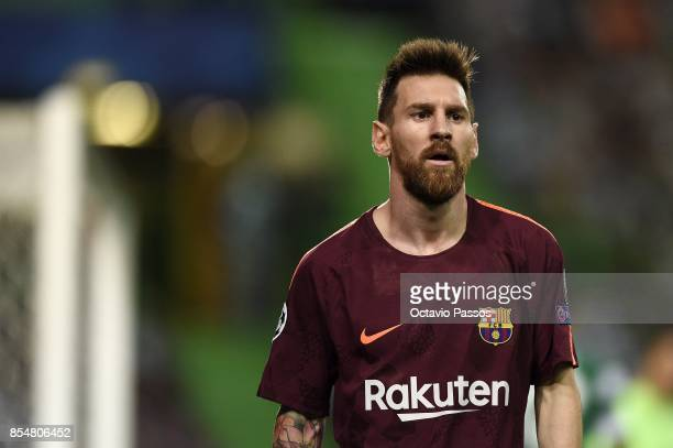 Lionel Messi of FC Barcelona in action during the UEFA Champions League group D match between Sporting CP and FC Barcelona at Estadio Jose Alvalade...