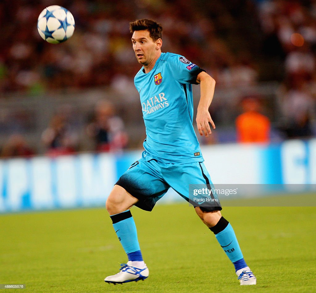 Lionel Messi of FC Barcelona in action during the UEFA Champions League Group E match between AS Roma and FC Barcelona at Stadio Olimpico on September 16, 2015 in Rome, Italy.