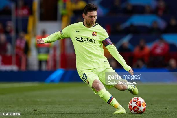 Lionel Messi of FC Barcelona in action during the UEFA Champions League Quarter Final first leg match between Manchester United and FC Barcelona at...