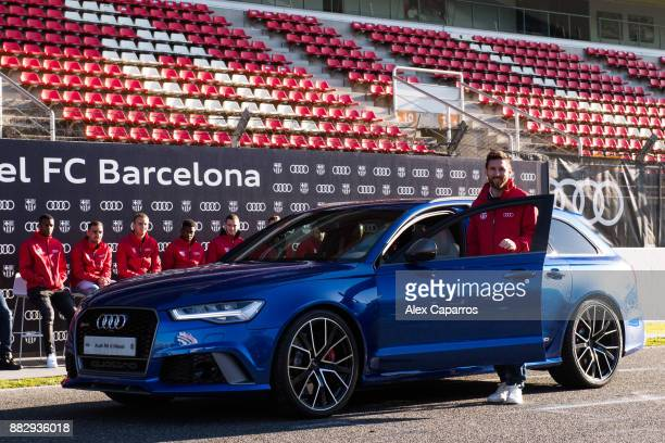Lionel Messi of FC Barcelona is presented with his new Audi car during the Audi Car handover to the players of FC Barcelona on November 30 2017 at...