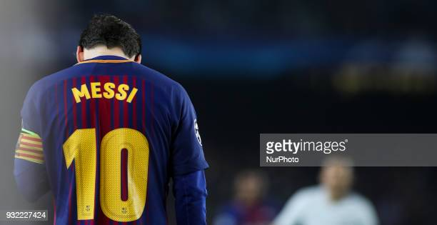 Lionel Messi of FC Barcelona is seen during the UEFA Champions League Round of 16 Second Leg match FC Barcelona and Chelsea FC at Camp Nou on March...