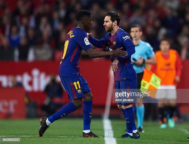 Lionel Messi of FC Barcelona is substitude for Ousmane Dembele of FC Barcelona during the La Liga match between Sevilla CF and FC Barcelona at...