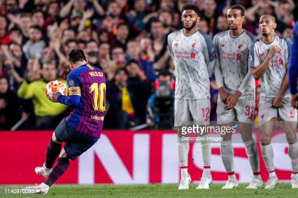 Lionel Messi of FC Barcelona Joe Gomez of Liverpool FC Joel Matip of Liverpool FC Fabinho of Liverpool FC scores the 2nd goal to make it 30 during...