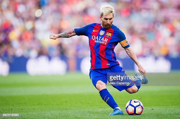 Lionel Messi of FC Barcelona kicks the ball during the La Liga match between FC Barcelona and Real Betis Balompie at Camp Nou on August 20 2016 in...