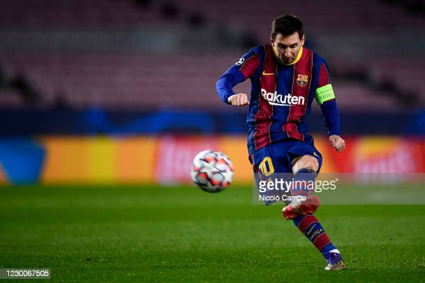 Lionel Messi of FC Barcelona kicks the ball during the UEFA Champions League Group G football match between FC Barcelona and Juventus. Juventus FC...
