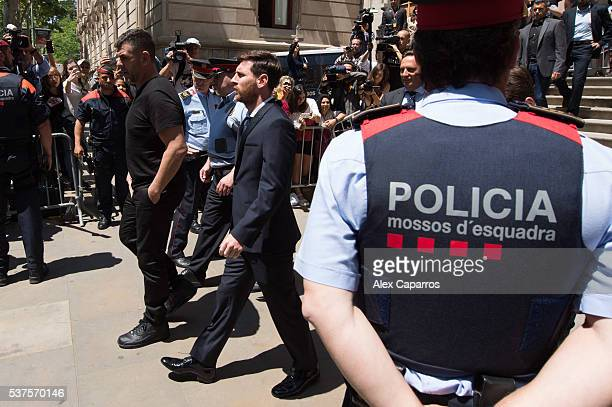 Lionel Messi of FC Barcelona leaves the courthouse on June 2 2016 in Barcelona Spain Lionel Messi and his father Jorge Messi who manages his...