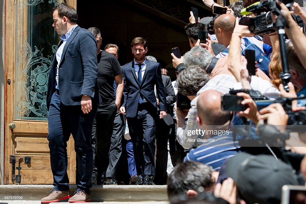 Lionel Messi of FC Barcelona leaves the courthouse on June 2, 2016 in Barcelona, Spain. Lionel Messi and his father Jorge Messi, who manages his financial affairs, are accused of defrauding the Spanish Tax Agency of 4.1 million Euros ($4.6 million, £3.2 million) by using companies based in tax havens such as Belize and Uruguay to conceal earnings from image rights during years 2007 to 2009.