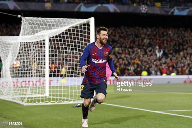 Lionel Messi of FC Barcelona Liverpool FC goalkeeper Alisson Becker during the UEFA Champions League semi final match between FC Barcelona and...