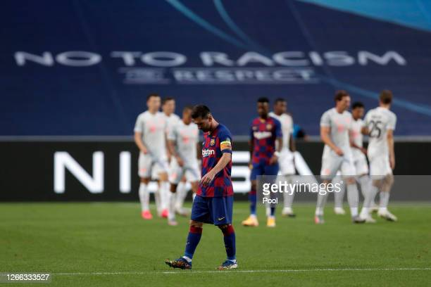 Lionel Messi of FC Barcelona looks dejected after his team concede during the UEFA Champions League Quarter Final match between Barcelona and Bayern...