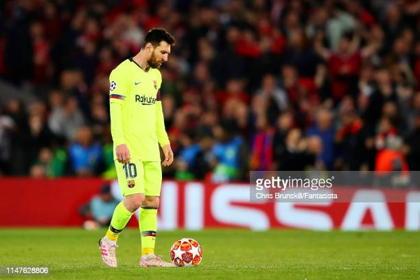 Lionel Messi of FC Barcelona looks dejected after seeing his side concede a fourth goal during the UEFA Champions League Semi Final second leg match...