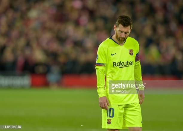 Lionel Messi of FC Barcelona looks dejected after the UEFA Champions League Semi Final second leg match between Liverpool and Barcelona at Anfield on...