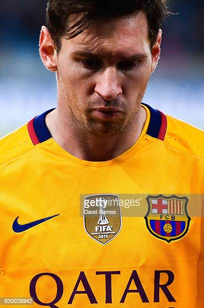 Lionel Messi of FC Barcelona looks dejected as he leaves the pitch at the end of the La Liga match between Real Sociedad de Futbol and FC Barcelona...