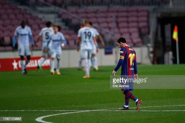 Lionel Messi of FC Barcelona looks dejected as his side concede a second goal during the La Liga Santander match between FC Barcelona and Valencia CF...