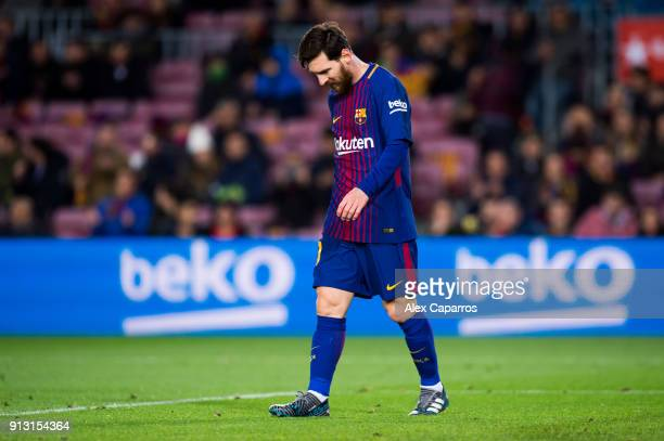 Lionel Messi of FC Barcelona looks dejected during the Copa del Rey semifinal first leg match between FC Barcelona and Valencia CF at Camp Nou on...