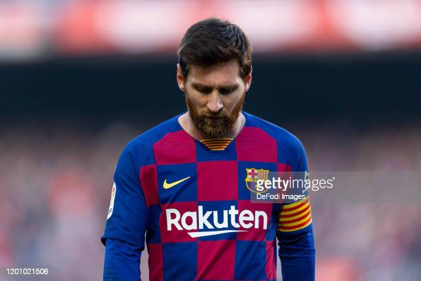 Lionel Messi of FC Barcelona looks dejected during the Liga match between FC Barcelona and Getafe CF at Camp Nou on February 15 2020 in Barcelona...