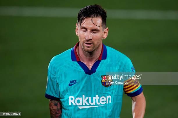 Lionel Messi of FC Barcelona looks dejected during the Liga match between Villarreal CF and FC Barcelona at Estadio de la Ceramica on July 05 2020 in...