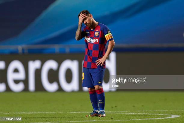 Lionel Messi of FC Barcelona looks dejected during the UEFA Champions League Quarter Final match between Barcelona and Bayern Munich at Estadio do...