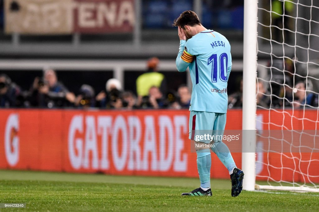 Lionel Messi of FC Barcelona looks dejected during the UEFA Champions League Quarter Final match between Roma and FC Barcelona at Stadio Olimpico, Rome, Italy on 10 April 2018.