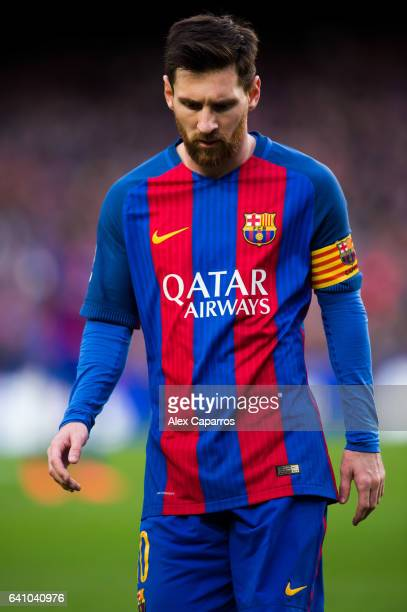 Lionel Messi of FC Barcelona looks down during the La Liga match between FC Barcelona and Athletic Club at Camp Nou stadium on February 4 2017 in...
