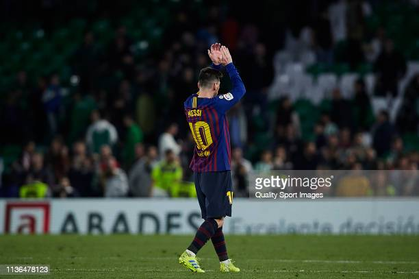 Lionel Messi of FC Barcelona looks on after the victory of the La Liga match between Real Betis Balompie and FC Barcelona at Estadio Benito...