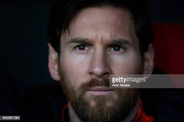 Lionel Messi of FC Barcelona looks on at the bench prior to the La Liga match between Sevilla CF and FC Barcelona at Estadio Ramon Sanchez Pizjuan on...
