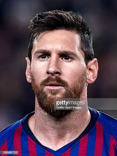 Lionel Messi of FC Barcelona looks on before the Copa del Rey Round of 16 match between FC Barcelona and Levante at Nou Camp on January 17 2019 in...