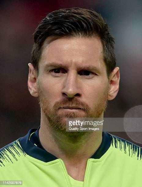 Lionel Messi of FC Barcelona looks on before the UEFA Champions League Quarter Final first leg match between Manchester United and FC Barcelona at...
