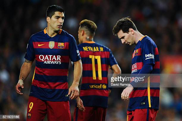 Lionel Messi of FC Barcelona looks on dejected past his team mates Neymar and Luis Suarez during the La Liga match between FC Barcelona and Valencia...