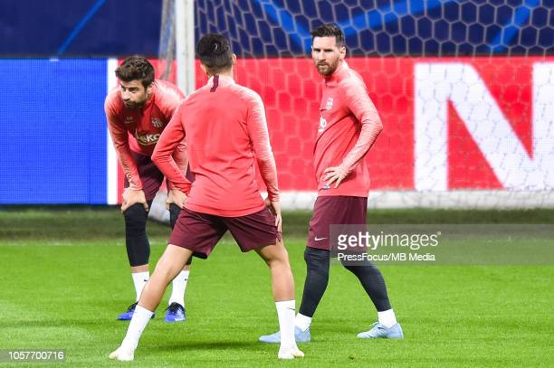 Lionel Messi of FC Barcelona looks on during a FC Barcelona press conference and training session at San Siro Stadium on November 5 2018 in Milan...