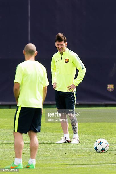 Lionel Messi of FC Barcelona looks on during a training session ahead of their UEFA Champions League semifinal first leg match against FC Bayern...