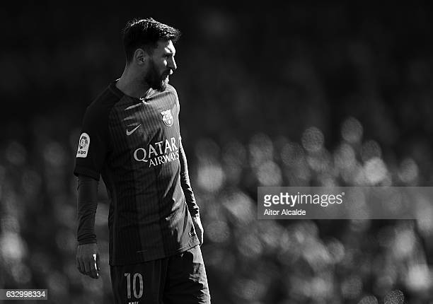 Lionel Messi of FC Barcelona looks on during La Liga match between Real Betis Balompie and FC Barcelona at Benito Villamarin Stadium on January 29...