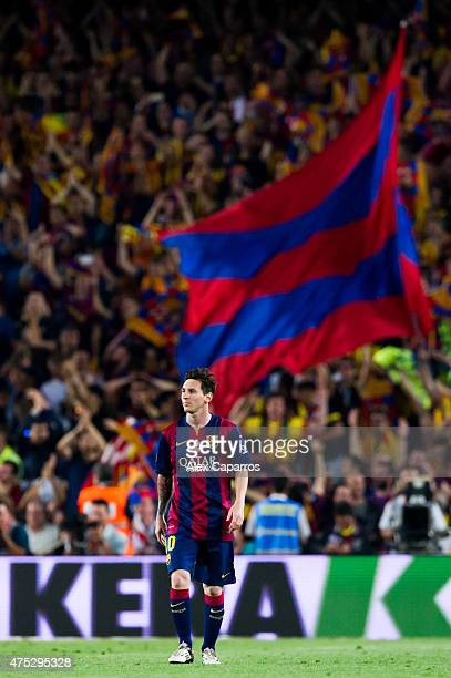Lionel Messi of FC Barcelona looks on during the Copa del Rey Final between Athletic Club and FC Barcelona at Camp Nou on May 30, 2015 in Barcelona,...