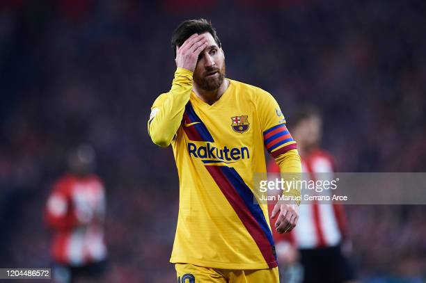 Lionel Messi of FC Barcelona looks on during the Copa del Rey quarter final match between Athletic Bilbao and FC Barcelona at Estadio de San Mames on...