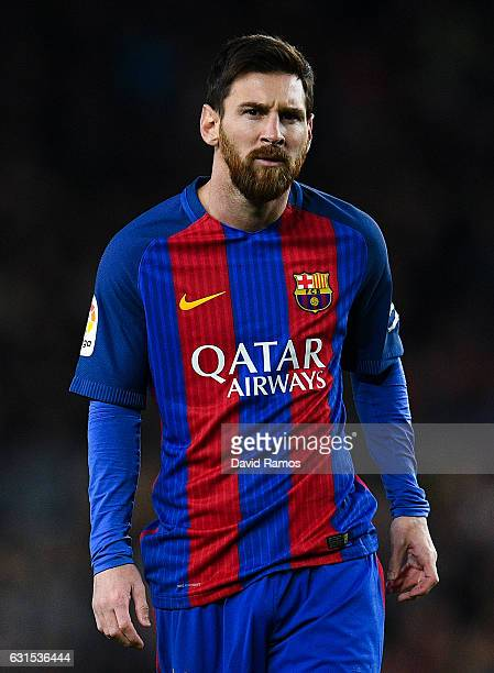 Lionel Messi of FC Barcelona looks on during the Copa del Rey round of 16 second leg match between FC Barcelona and Athletic Club at Camp Nou on...