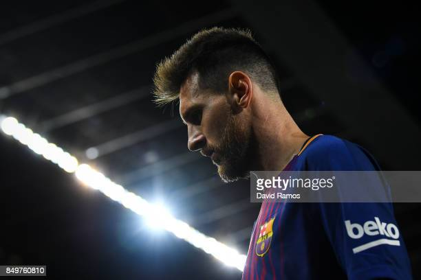 Lionel Messi of FC Barcelona looks on during the La Liga match between Barcelona and SD Eibar at Camp Nou on September 19 2017 in Barcelona Spain