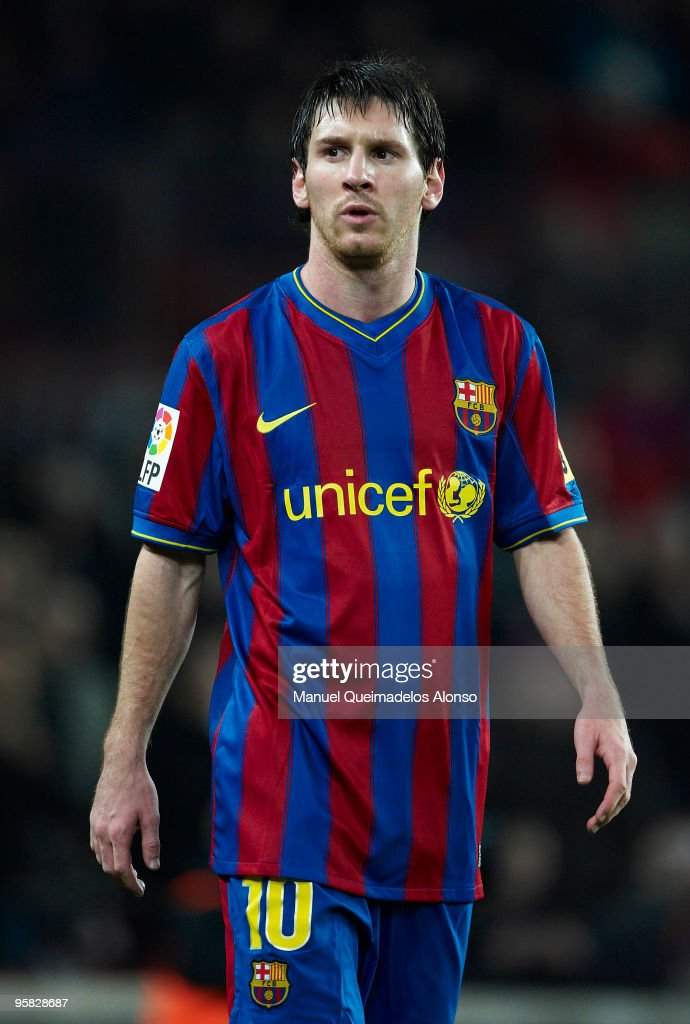 Lionel Messi of FC Barcelona looks on during the La Liga match between Barcelona and Sevilla at the Camp Nou stadium on January 16, 2010 in Barcelona, Spain. Barcelona won 4-0.
