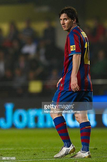 Lionel Messi of FC Barcelona looks on during the La Liga match between Villarreal CF and FC Barcelona at El Madrigal stadium on May 1 2010 in...